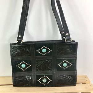Montana West black leather turquoise studded purse